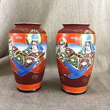 Paire De Japonais Vases Ancien Satsuma Vintage Peint Porcelaine
