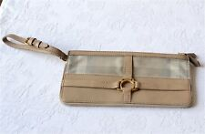 Pochette sac en cuir et toile beige BURBERRY. Leather canvas bag pouch wallet.