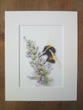 """bee with lavender , print of original painting, in 10"""" x 8"""" Mount"""