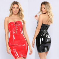 LACE UP FRONT ZIP UP WET LOOK PVC BANDAGE DRESS VINYL BODYCON CLUBWEAR
