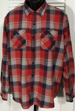 Levi's Flannel Shirt Men's XL Long Sleeve Button Front Shirt Red Plaid Cotton