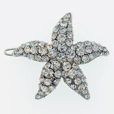 Hair Clip use Swarovski Crystal Hairpin Starfish Seastar Mermaid Silver Clear