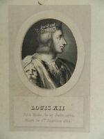 Antik Gravur XIX Porträt Louis XII P.Adam Ménard & Desenne Circa 1824