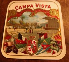 CAMPA VISTA outer Cigar Box Label 1920s EMBOSSED LITHOGRAPH SOUTH AMERICAN SCENE