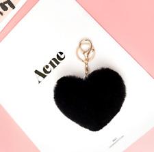 Heart Shape Pom Pom Rabbit Fur Ball Car Key Chain Women's Bag Accessories Decor