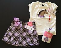 NWT Gymboree 3 3T Cowgirls At Heart Horse Tee Plaid Pleated Skirt Argyle Tights