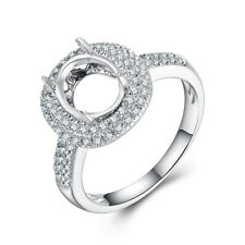 Oval 9x7mm 0.4ct Natural Diamonds Halo Semi Mount 10K White Gold Engagement Ring