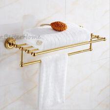 Wall Mounted Towel Holder Shelf Hotel Bathroom Storage Rack Rail Clothes Hanger