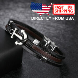 Men's Stainless Steel Anchor with Brown and Black Leather Bracelet