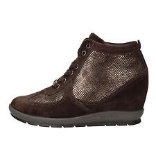 scarpe donna KEYS 37 sneakers marrone camoscio AE596-C