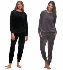 NEW Felina Women's Ultra Luxe Velour 2-Piece Pajama Set - BLACK / SHARK