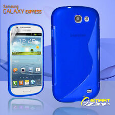 Blue S Curve Gel Case + SP for SAMSUNG Galaxy Express i8730 Jelly Tpu soft cover