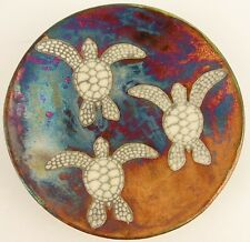 Ben Diller Signed Iridescent Turtle Dish Plate Raku Pottery Pink Turquoise Gold