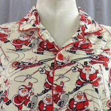 Nick & Nora Skiing Santa Claus Long Sleeve Pajama Shirt Large Sleepwear