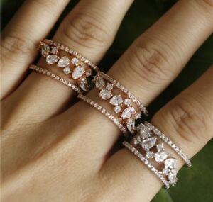 18k Rose Gold Adjustable Cocktail Ring made w/ Swarovski Crystal Stone Bridal