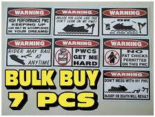 FUNNY WARNING PWC STICKERS PERSONAL WATERCRAFT WAVE SEADOO JETSKI DECAL X 7 PCS