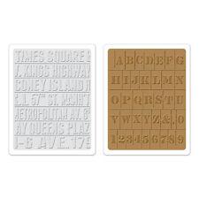 SIZZIX Tim Holtz Texture SUBWAY STENCIL embossage scrapbooking gaufrage alphabet