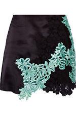 NWT 3.1 Phillip Lim Black Guipure Lace-paneled Silk-gazar Skirt Sz 6