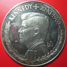 1963 GERMANY ARGENTEUS X DUCAT 4.8oz SILVER PROOF JFK KENNEDY EDGE#377 HUGE 80mm