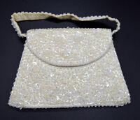 White Sequin Bead Beaded Clutch Purse Handbag Vintage
