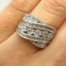 925 Sterling Silver Pave Real Diamond Crossover Design Wide Ring Size 7