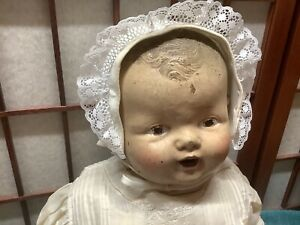 """Vintage Composition Baby Doll Needs TLC. Restoration Practice. Nice Clothes 21"""""""