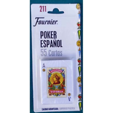 BARAJA DE CARTAS POKER ESPAÑOL FOURNIER SUPERFICIE PLASTICA 55 CARTAS BLISTER