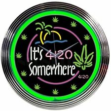 Neon Clock Its 4:20 Somewhere Neon Wall Clock Marijuana Neonetics