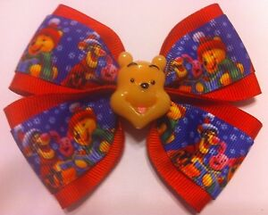"""Girls Hair Bow 4"""" Wide Winnie the Pooh Christmas Red Ribbon French Barrette"""