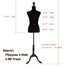 New Black Female Mannequin Torso Clothing Display Dress W/ White Tripod Stand