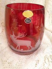 """Vintage - Echt Kristall Germany Red Cranberry Etched Elk 20 oz Beer Mug 4-1/2"""""""
