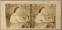 Scène Artistique Femme au miroir Beauté Photo Stereo Vintage Albumine ca 1858