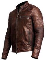 Men's Biker Vintage Motorcycle Distressed Brown Cafe Racer Leather Jacket