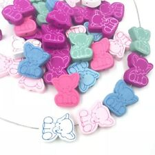 40pcs Elephant Loose Beads Wood beads Pacifier Clip Spacer Wood Besds 25mm