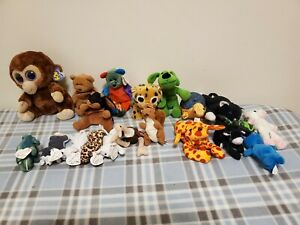 TY BEANIE/TEENIE/BOOS BABIES lot of 20 assorted beanies/extra Curly/Prickles