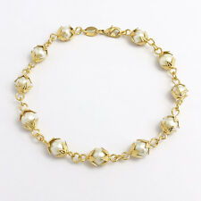 14k Gold Filled Pearl Bracelet Fashion Jewelry Women Charms Beads Pulsera Perla