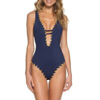 Becca Camille Reversible One-Piece Swimsuit Navy Blue or White Size L Large