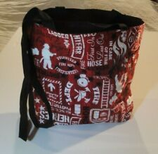 Fire Fighter Words & Symbols Tossed-Red B/G Tote Bag-Machine Quilted-Hand Made