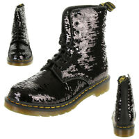 Dr. Martens 1460 Pascal Sequin Boots Damen Stiefel schwarz silber Pailletten