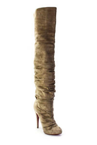 Christian Louboutin Womens Suede Over The Knee Platform Boots Brown Size 38
