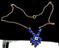 Art Deco Blue Emerald glass necklace. A20.