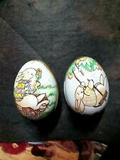 1983 Lot Of Two Vintage Tin Metal Easter Eggs Containers Made In Switzerland