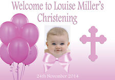 LARGE CHRISTENING BAPTISM POSTER BANNER PERSONALISED ANY COLOUR NAME PHOTO DATE