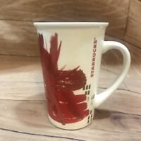 Starbucks 2014 Tall Red Starburst Coffee Mug 12 Ounce 354ml Red Gold White