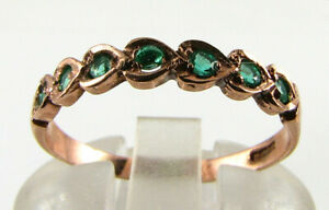 LUSH 9K 9CT ROSE GOLD COLOMBIAN EMERALD ETERNITY BAND HEART ART DECO INS RING
