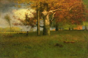 George Inness Early Autumn Giclee Art Paper Print Paintings Poster Reproduction