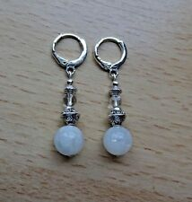 Genuine Rainbow MOONSTONE / Rock Crystal drop EAR RINGS St Silver Gift wrapped