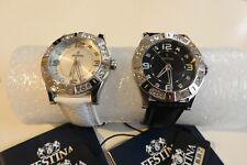 2 FESTINA  Lady Trend Damen-Armbanduhren, Leder, schwarz + weiß, Uhr, F16537/1+2