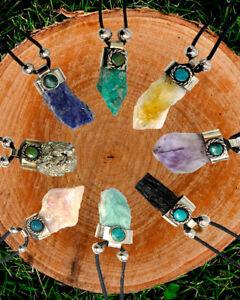 Natural Raw Rough Healing Gemstone Pendant Chrysocolla Stone Adjustable Necklace