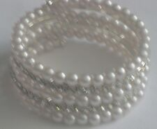 OkerWoman Fresh Water Pearl Swarovski Elements Crystal Stretch Bracelet Size 7
